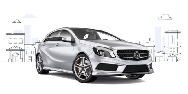 A silver a-class Mercedes.