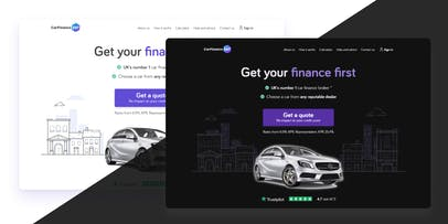 CarFinance home page in both dark and light mode.