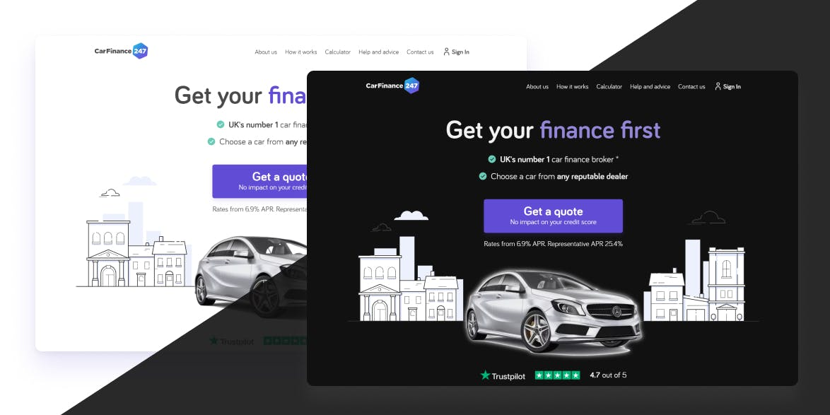 CarFinance home page in both dark and light mode