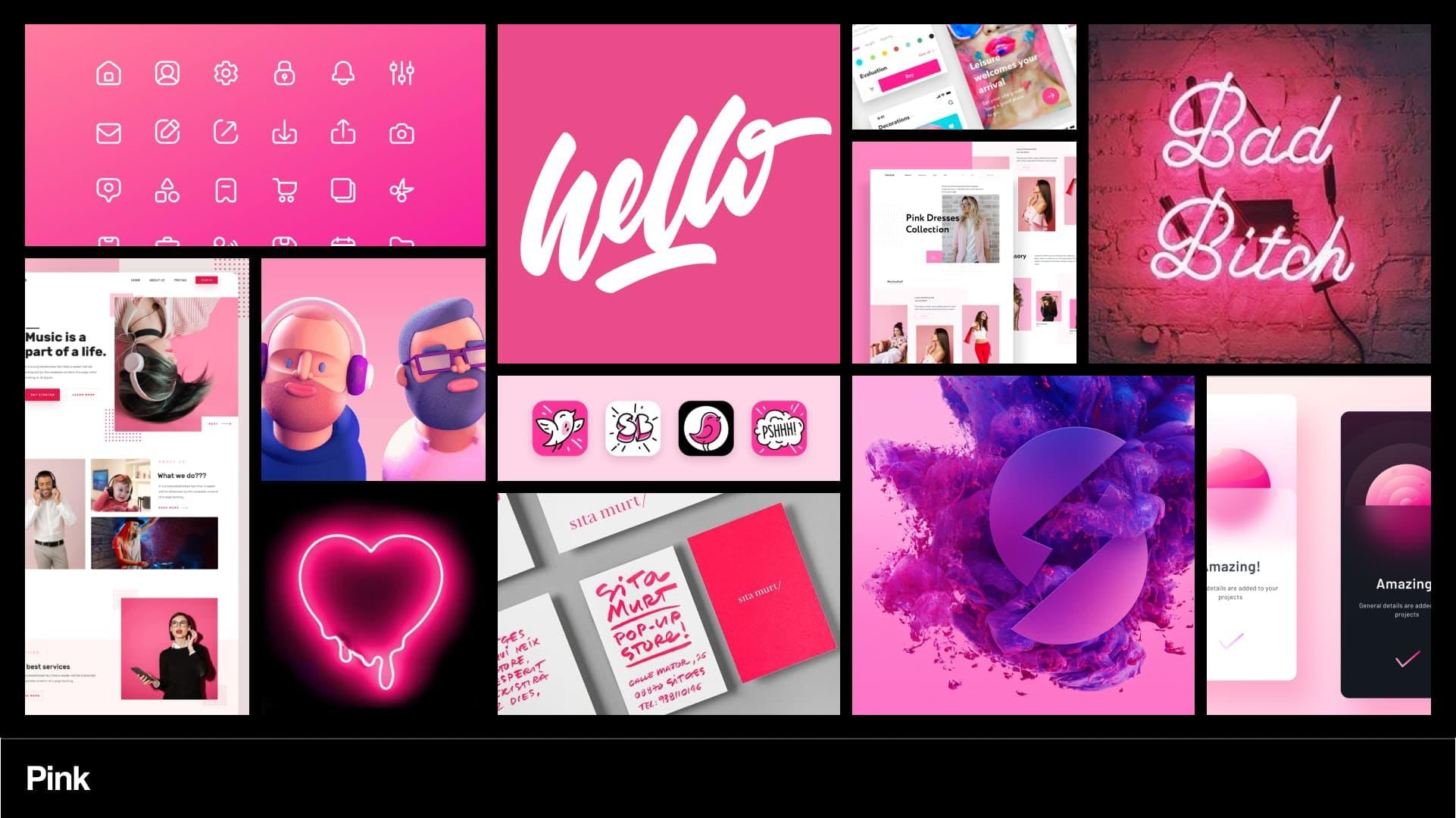 Pink mood board.