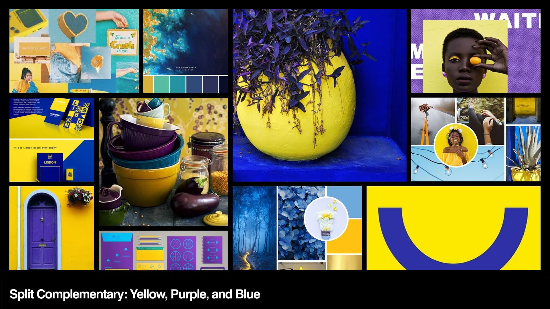 Split complementary yellow mood board.