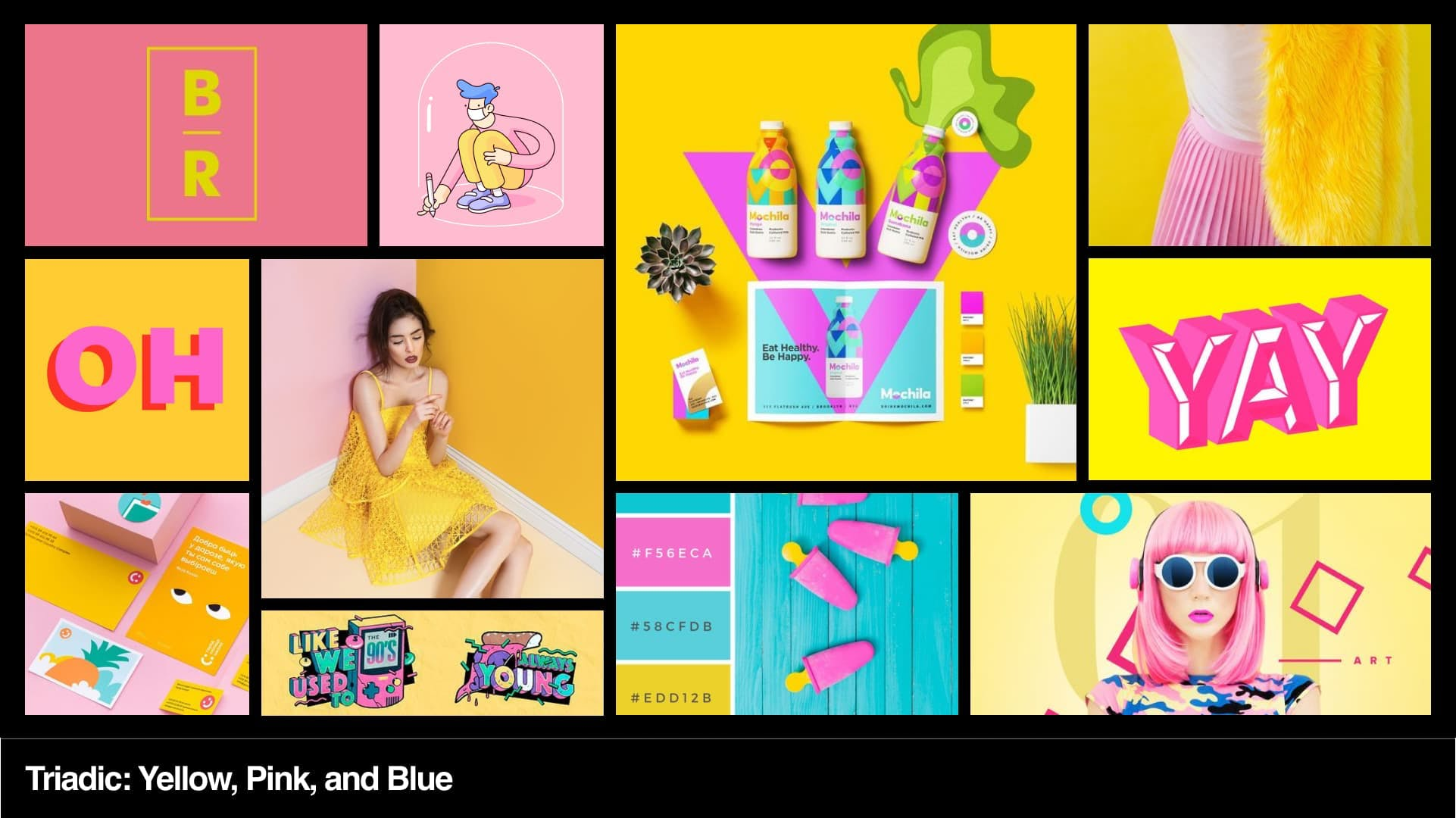 Triadic colour mood board, yellow, pink, and blue.