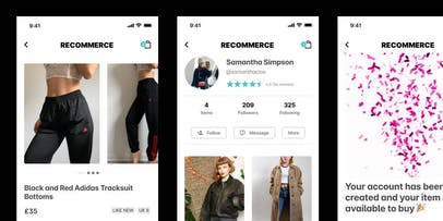 Three screens from the marketplace app wireframe designs