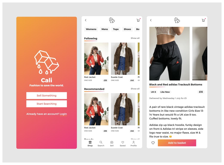 Cali UI screens