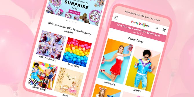 The Party Delights homepage and fancy dress page.