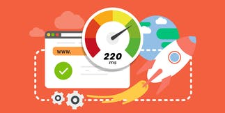 Illustration that represents web performance and features a glow, browser, rocket ship, and speedometer.