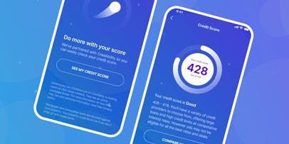Hi fidelity mockups of the opt in and credit score pages in the thinkmoney app.