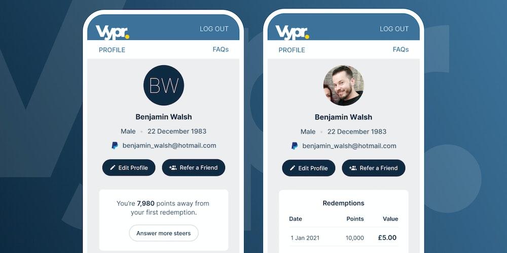 Vypr Profile Page Designs.
