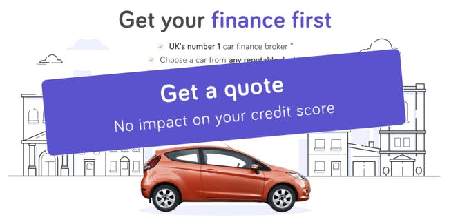 "CarFinance 247 homepage featuring a large purple button that reads ""Get a quote, No impact on your credit score"""